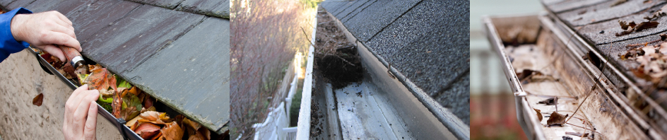 Bath gutter cleaning before and after images